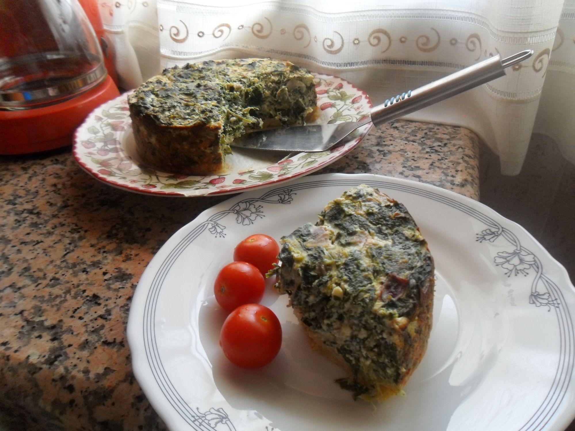 Pastel de queso y espinacas