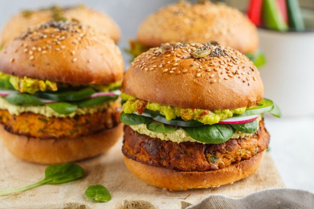 vegan sweet potato burger with chickpeas &spinach