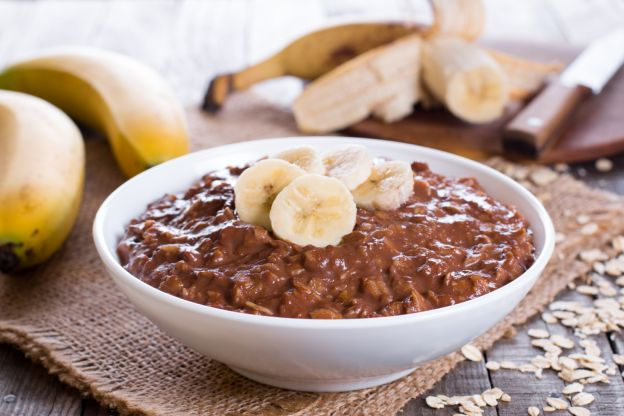Avena con chocolate y banana