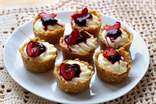 Minis cheesecakes de cereza sin horno
