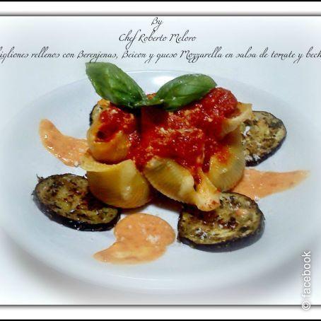 Conchigliones rellenos con berenjenas beicon e mozzarella - Chipirones rellenos en salsa de tomate ...