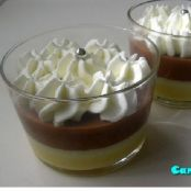 Vasitos con flan de vainilla y chocolate