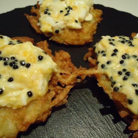 Revuelto de caviar con rosti de patata