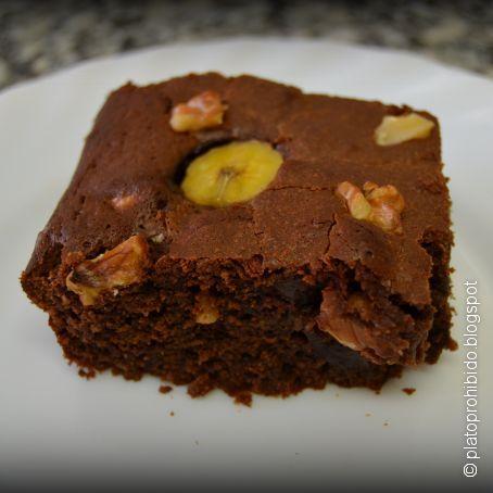 brownie con nueces y plátano