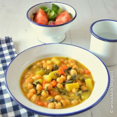Garbanzos con verduras - Potaje garbanzos con arroz ...