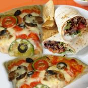 Pizza vegetal con burritos de carne