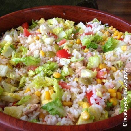 Ensalada de arroz y at n fr a 4 5 - Ensalada de arroz light ...