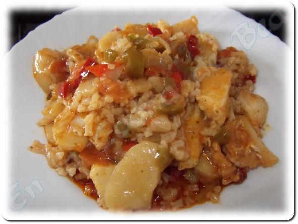 Guiso de patatas arroz y bacalao 4 3 5 - Patatas en caldo con bacalao ...