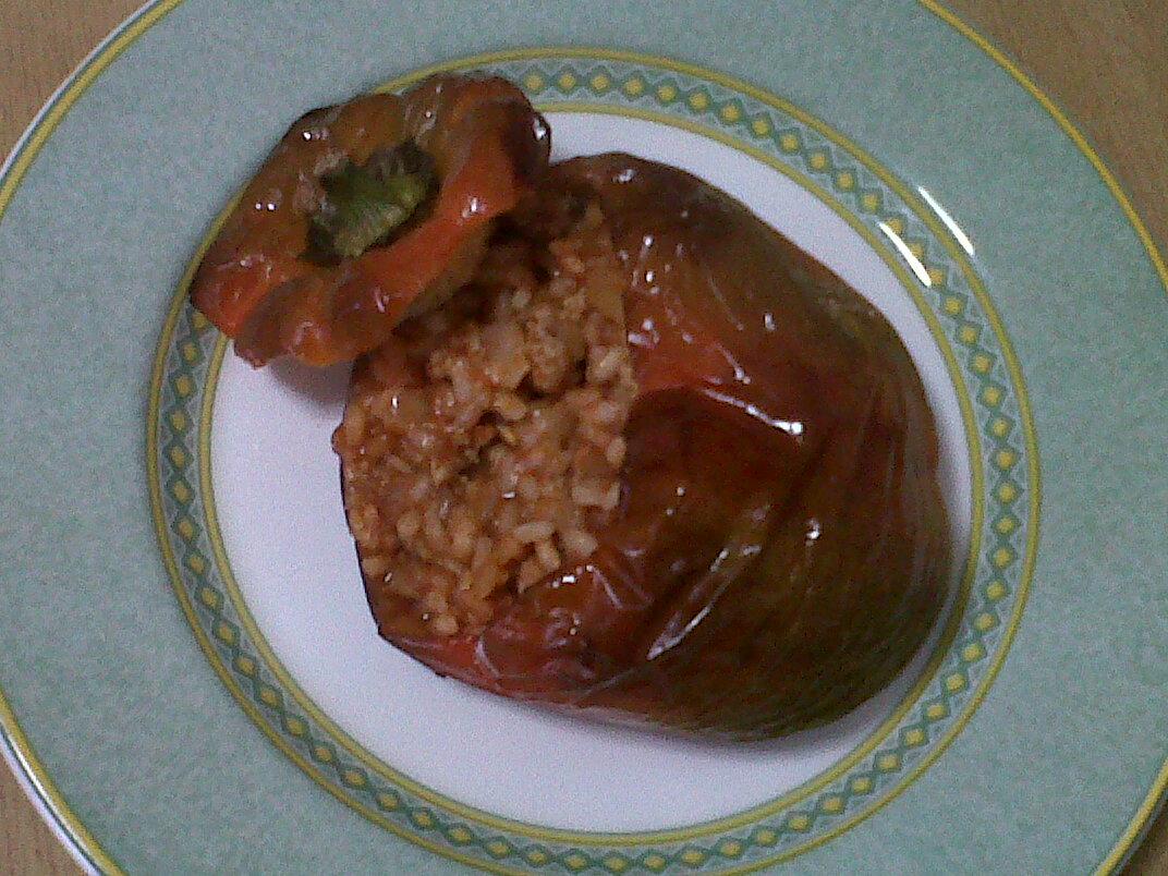 Pimientos rellenos de arroz y carne picada 4 3 5 - Pimientos rellenos de carne picada y bechamel ...